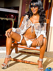 Slender stunning shemale loses her sexy lacy outfits