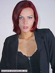 Classy tranny in black strips naked in the bedroom