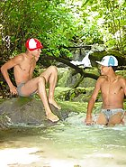 Latino twink gets his tight ass explored outdoors