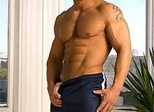 Muscular guys posing