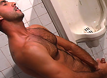 He's back! This time jerking his man-meat in a locker-room bathroom. JD Kollin is a sexy fucker, there is no denying it. This is the first time we have capture...