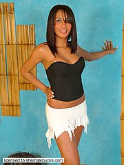 Dropdead gorgeous ethnic shemale shows her incredible body