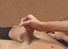 Pretty dark-haired schoolboy stud playing with his big dick
